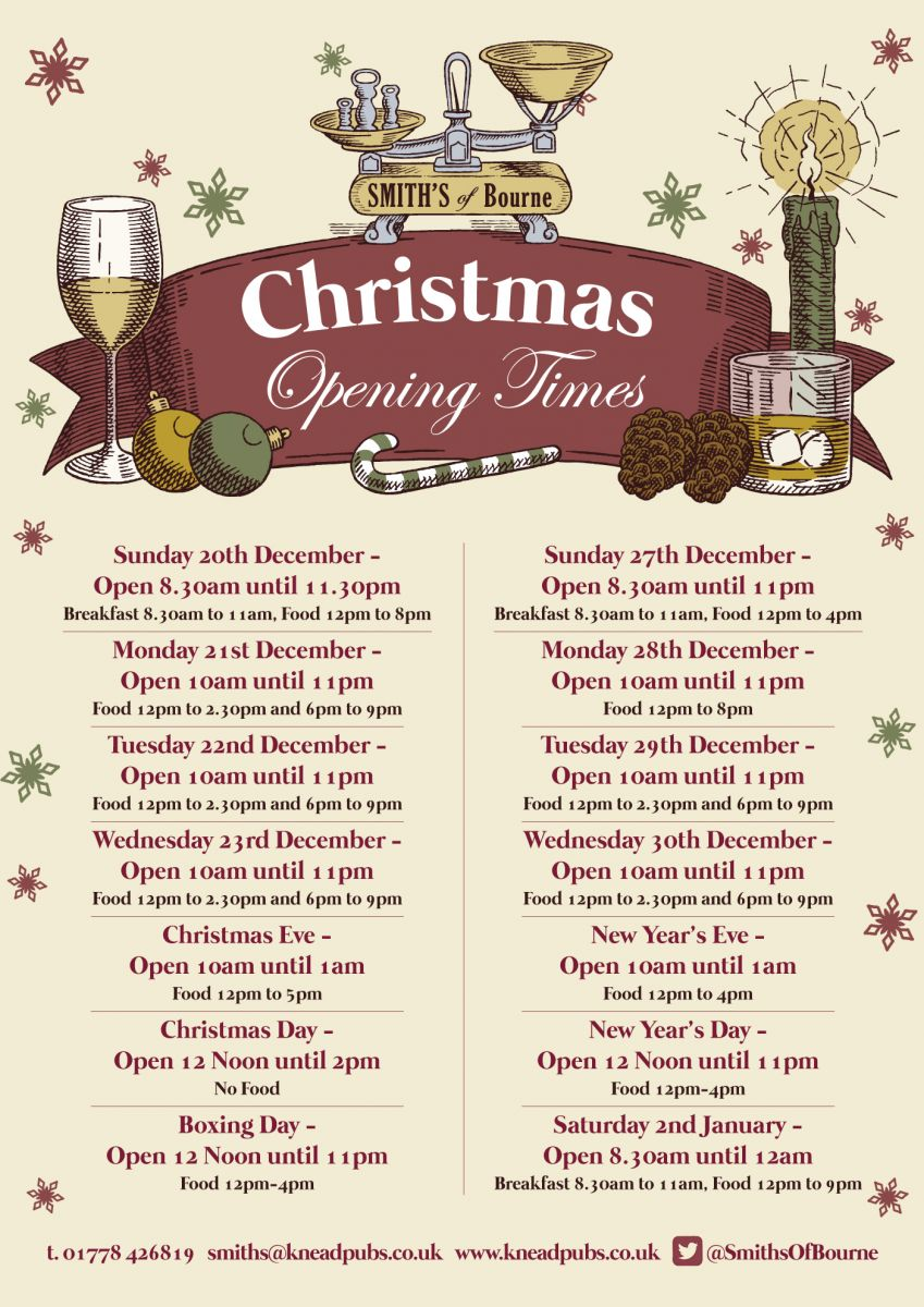 Christmas Opening Times at Smith's of Bourne, Bourne, Lincolnshire ...